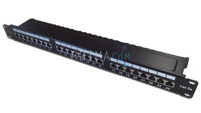 Techly I-PP 24-RST, CAT5e, FTP fully shielded, 1U, patch panel 24 port, Black