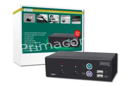 DC-11401-1 Combo-KVM Switch 1User, 2 PCs(each PS/2 or USB), Desktop,hot-swap function, with Audio