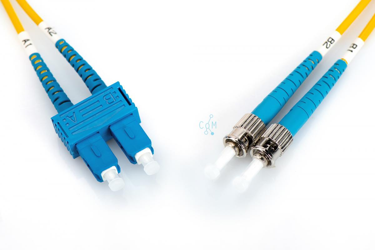 FO patch cord, duplex, ST to SC SM OS2 09/125 µ, 1 m