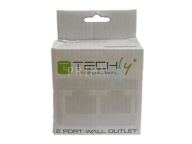 Techly IWP-MD 8/8-SAP-C5E, FTP, 2 port White modular wall outlet, shielded, Cat 5
