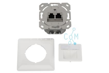 CAT 6A Class EA network outlet,  shielded, flush mount