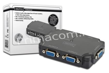 DS-42120-1 DIGITUS Video Splitter compact 1 PC- 4 Monitors, 350 MHz, HDSUB 15/M - 4x HDSUB 15/F