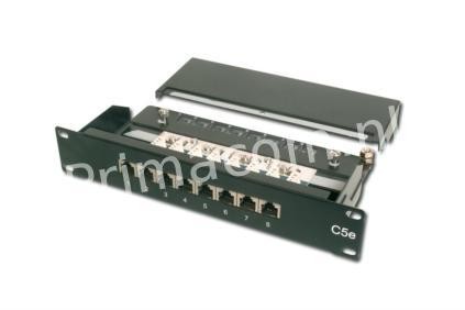 DN-91508S Patch Panel, MINI, CAT5E. 8x Insulated RJ45 Socket, LSA 10 (052067)