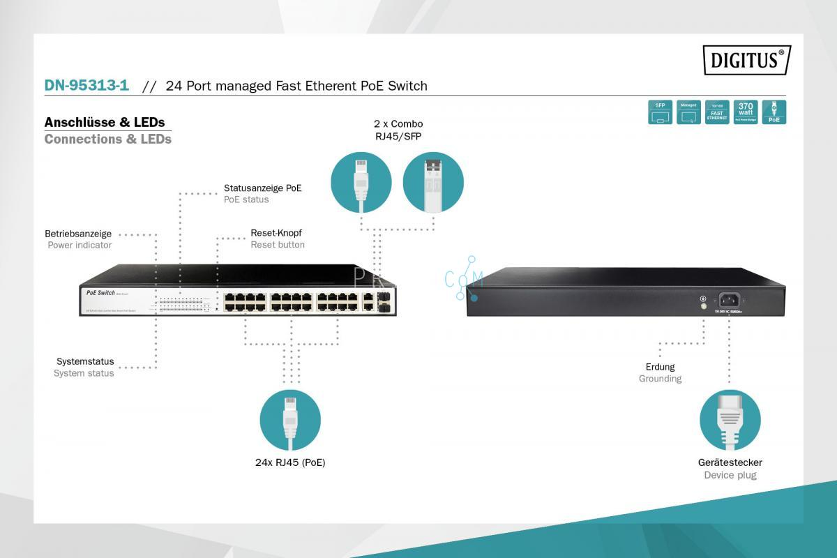 DIGITUS 24-port managed Fast Etherent PoE Switch