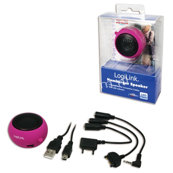 SP0012 Portable Active Speaker Hamburger with rechargable battery PINK